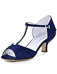 ElegantPark EL-035 Women Satin T-Strap Peep Toe Sandals Mid Heel Ruched Rhinestones Evening Prom Shoes