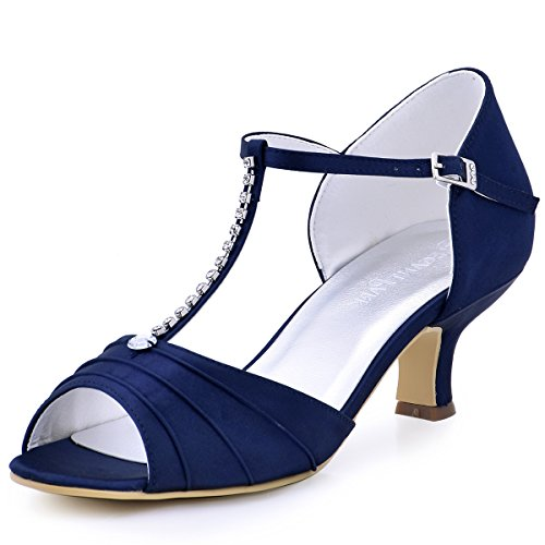 ElegantPark EL 035 Women Peep Toe T Strap Pumps Mid Heel Rhinestones Satin Evening Wedding Sandals Navy Blue US 8