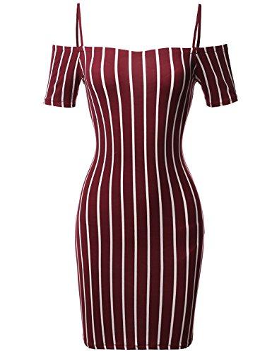 Pinstripe Print Spaghetti Strap Off-Shoulder Body-Con Mini Dress Burgundy L
