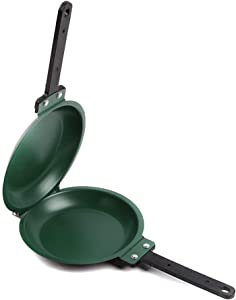 Double Sided Egg Frying Pan, Non-Stick Ceramic Flip Pancake Maker Household Kitchen Cookware 6.5x7.6 Inch