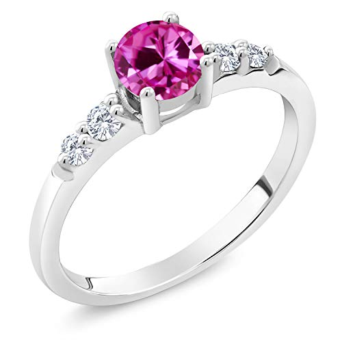 (0.70 Ct Round Pink Created Sapphire G/H Lab Grown Diamond 925 Silver Ring (Size 8))