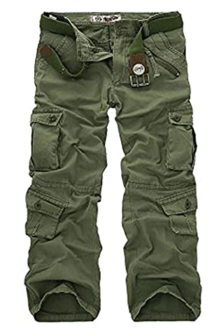 Menschwear Men's Pants Cargo Multi Pockets Casual Water Washed With Woven Belts (34,Green)