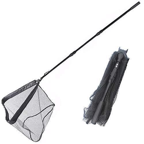 KIQ Collapsible Portable Lightweight Fishing Net Rubber Aluminum Alloy Folding Landing Net Easy Catch Release (210cm)