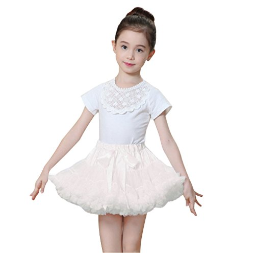 White Tutu Ballet Costume (Girls Solid Color Costume Dance Dress Up Ballet Tutu Pettiskirt 5-7 Years)