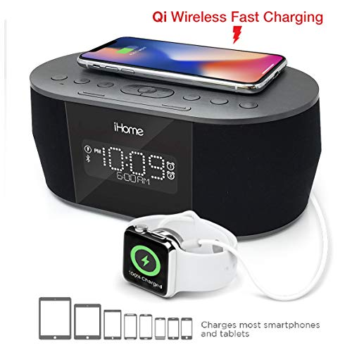lock Bluetooth Stereo with Lightning iPhone Qi Wireless Charging Dock Station for iPhone Xs, XS Max, XR, X, iPhone 8/7/6 Plus USB Port to Charge Any USB Device ()