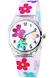 Zeiger Analog Display Easy Read Time Teacher Teen Plastic Young Girls Children Kids Watches, Colorful Flower Silicon Strap (White)