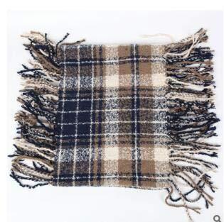 Winter Plaid Knit Infinity Scarf Warm Cashmere Feel Tassel Blanket Circle Loop Tartan Scarves for Women