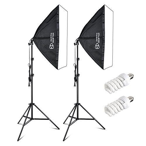 Photo Master 400W Softbox Photography Lighting Kit with 20x28/50x70cm Softbox 5500K Light Bulbs 1.9m Adjustable Heavy Duty Light Stand and Portable Carry Bag by PHOTO MASTER