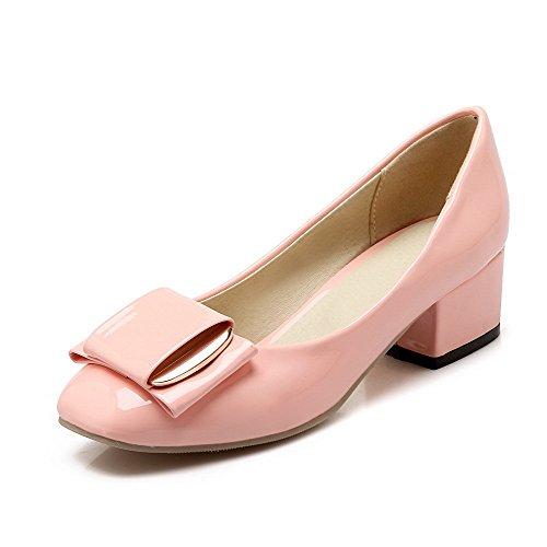 VogueZone009 Women's Soild Microfiber Low-Heels Round-Toe Pumps-Shoes Pink