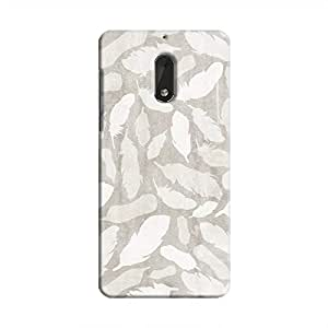 Cover It Up - Feather Grey Print Nokia 6 Hard Case