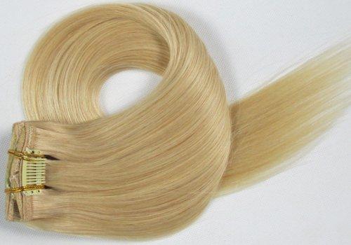 World Pride Модные прямой зажим в наращивание волос 22 дюймов 70 грамм No.24 натуральная блондинка