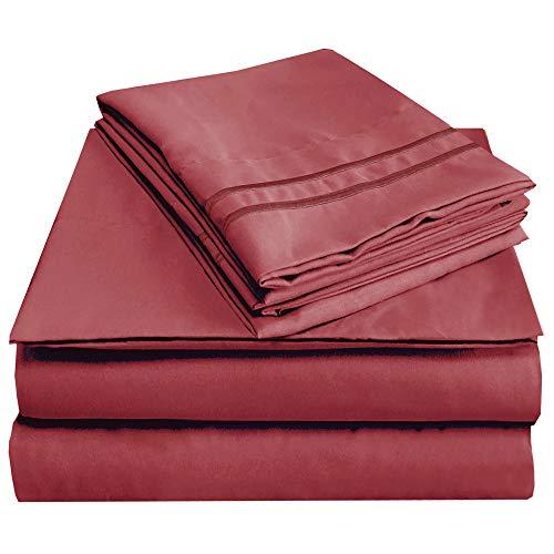 - MEJOROOM Full Size Sheet Set - 1800 Luxury Microfiber Bed Sheets,Deep Pocket Fitted Sheet, Soft&Fade Resistant - 4 Piece(Full,Burgundy)