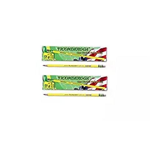 Ticonderoga Yellow Pencil, No.1 Extra Soft Lead, Dozen DIX13881 ()