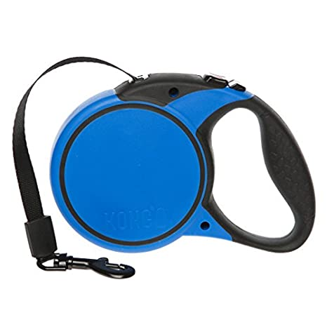 KONG Essential Tape Retractable Dog Leash medium 16ft for dogs up to 65lbs black/blue