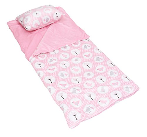 Thro by Marlo Lorenz Sleeping Bag Annie Birds Attached Pillow, Almond Blossom (Sleeping Bag With Pillow Attached)