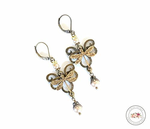 Dragonfly earrings in antique bronze with beige crystals rustic vintage prom jewelry ()