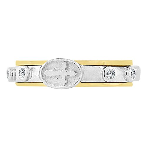 14k Yellow White Gold, Rosary Prayer Band Ring Virgin Mary Rose Beads Size 5.5 (Ring 14k Yellow Gold Rosary)