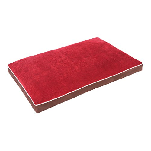 QIAOQI Dog Bed Delux Orthopedic Pet Cushion Mattress for Dogs and Cats Large Wine Red by QIAOQI