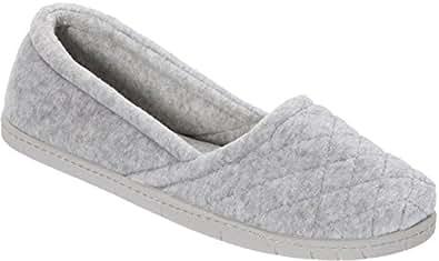 Dearfoams Womens Microfiber Velour Espadrille Slippers (Medium, Grey)