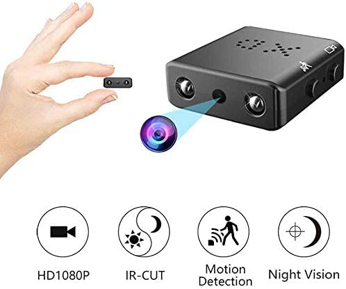 Spy Camera,Full 1080P HD Wide Angle Mini Security Camera Portable Sport DV Video Recorder Small Nanny Cam with IR Night Vision Motion Detection for Home and Office 16GB