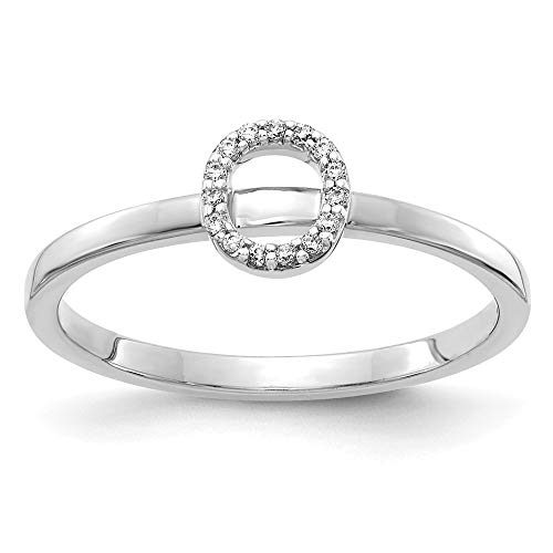 14K White Gold Diamond Initial O Ring (0.06Cttw) ()
