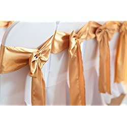 SPRINGROSE 50 Gold Wedding Satin Chair Sashes. These Are a Wonderful Decoration for Your Chairs. Be Sure and Add Them to Your List of Party Supplies.