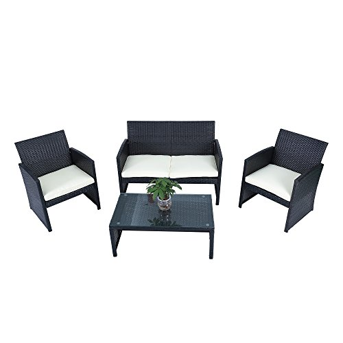 - 4-Piece Garden PE Rattan Wicker Sofa Set Cushion Outdoor Patio Sofa Couch Furniture, Black