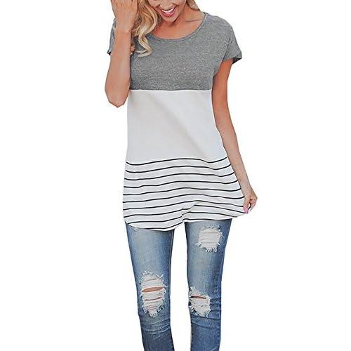 Camiseta De Moda Mujer Mangas Cortas Cuello Redondo Con Encaje en la Parte  Superior Blusa Casual a2fcb9abb79c7
