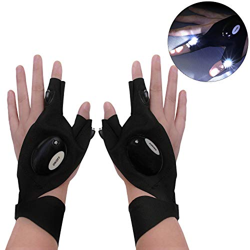 Gloves Flashlight,Cool Gadgets for Men,Work Gloves with Lights,Use for Camping,Night Fishing,Night Work & Tools Gifts for Handymen Men Women Boyfriend DIY Birthday Christmas (Plastic bag)