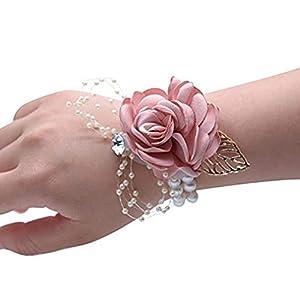 Creaon Wedding Wrist Corsage Women Bride Bridesmaid Wrist Flower Floral Hand Flower Exquisite Wedding Ribbon Flower Artificial Flowers for Wedding Decoration 106