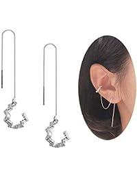 925 Sterling Silver New Arrival Wave Cuff Earrings Wrap Tassel Earrings for Women Threader Earrings Perfect Valentine's Day Gifts