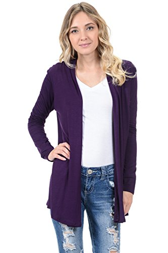 Ann Taylor Cardigan - Pastel by Vivienne Women's Long Sleeve Jersey Cardigan Large Purple