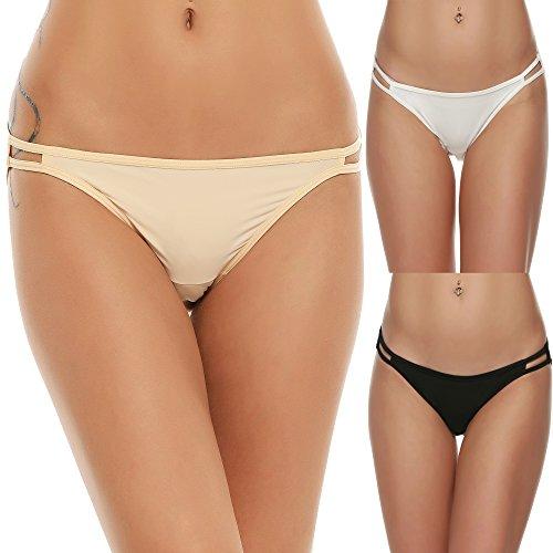 Ekouaer Bikini Underwear Women's Comfy Sleek Panty Briefs Knicker, Black/White/Beige(3 Pack), X-Large