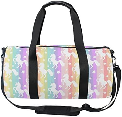 ALAZA Colorful Rainbow Unicorn Sports Gym Duffel Bag Travel Luggage Handbag for Men Women