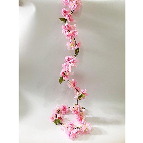 Artfen Artificial Cherry Blossom Vine Hanging Plants Faux Sakura Garland Fake Oriental Cherry Wreath Artificial Flower 5.8 FT Light Pink (Light Blossoms Pink Cherry)