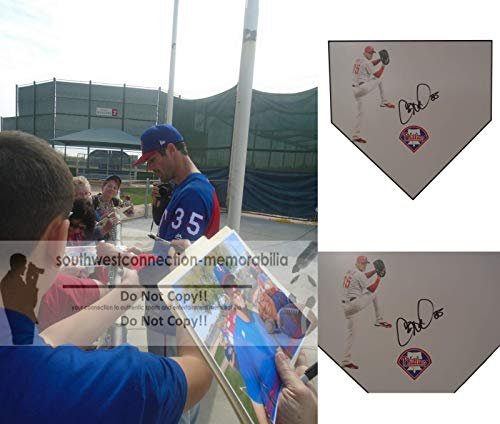 (Philadelphia Phillies Cole Hamels Autographed Hand Signed Baseball Home Plate Base with Exact Proof Photo of Signing and COA)