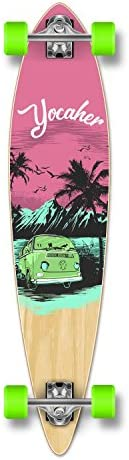 Yocaher Pintail Flat Pro Longboard Complete Cruiser Freeride Skateboard and Decks Complete- VW Series -Pink N Mint