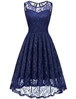 Gardenwed Women's Vintage Lace High-Low Evening Party Gown Sleeveless Cocktail Bridesmaid Dress