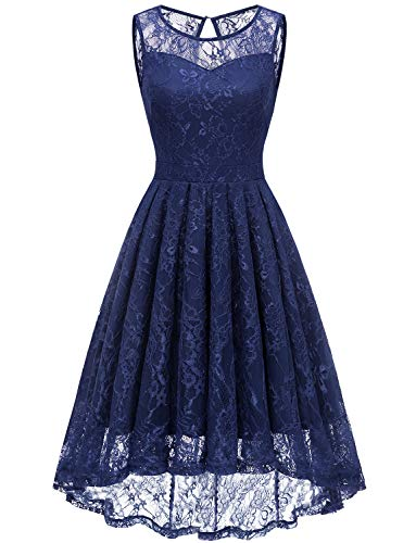 Cocktail Bridesmaids Dresses - Gardenwed Women's Vintage Lace High Low Bridesmaid Dress Sleeveless Cocktail Party Swing Dress Navy S