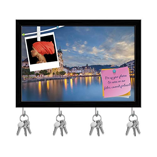 Artzfolio Cityscape of Lucerne, Switzerland Key Holder Hooks | Notice Pin Board | Black Frame 14.5 X 10Inch ()