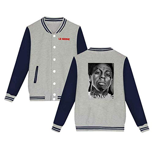 X Q X Baseball Uniform Jacket Sport Coat, Lil Logo Wayne Cotton Sweater for Women Men Boy Girls Gray]()