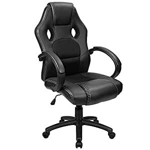 Furmax Office Chair Desk Leather Gaming Chair, High Back Ergonomic Adjustable Racing Chair,Task Swivel Executive Computer Chair Headrest and Lumbar Support (Black)