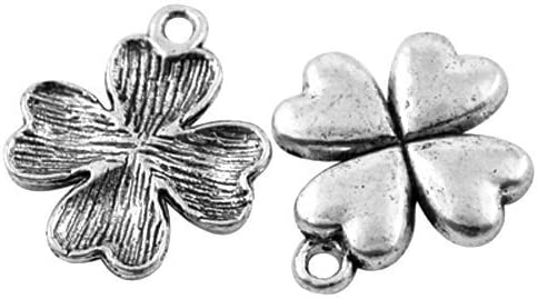 FOUR LEAF CLOVER - Pack of 20 x Antique Silver Tibetan 21mm Charms - Charming Beads HA07970