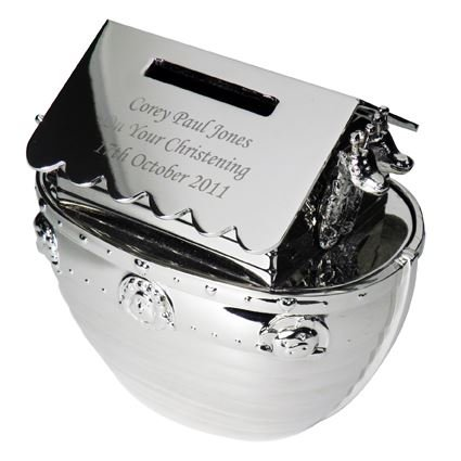 Personalised Silver Noah's Ark Moneybox Christening Present Gift Money Box