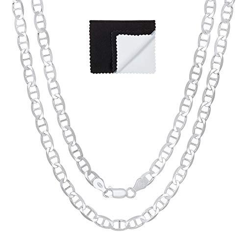 5.3mm 925 Sterling Silver Nickel-Free Flat Mariner Link Italian Chain, 30