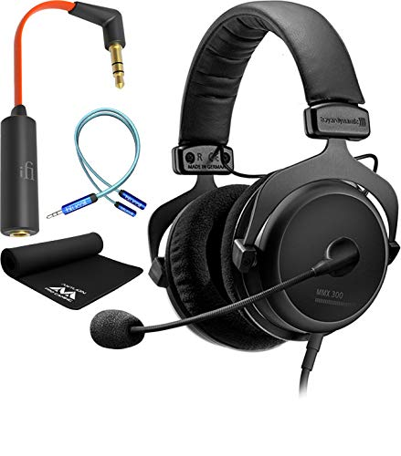 Attenuator Connector - Beyerdynamic MMX 300 2nd Generation Premium Gaming Headset Bundle with Antlion Audio Wide Mousepad, iFi Ear Buddy Audio Attenuator 3.5mm, and Blucoil 6' 3.5mm Extension Cable - Gaming Bundle