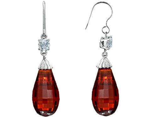 - Star K Briolette Drop Cut Simulated Garnet Hanging Hook Chandelier Earrings Sterling Silver