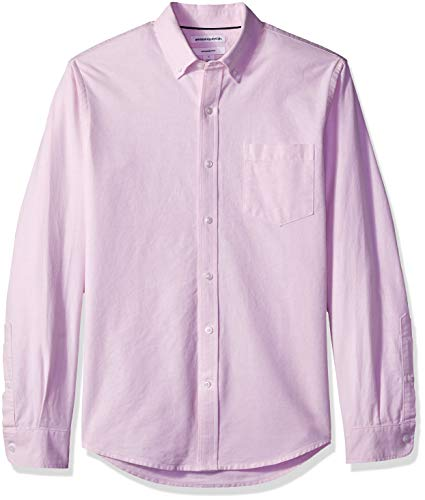 (Amazon Essentials Men's Slim-Fit Long-Sleeve Solid Pocket Oxford Shirt, Pink, Large)