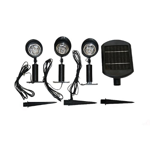 Master Craft St. Petersburg Solar Powered Outdoor Spotlight Set, 3 Lights