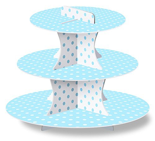 LolliZ Cupcake Stand, Blue/Polka Dots, Paper. 1 (Blue Cupcake Stand)